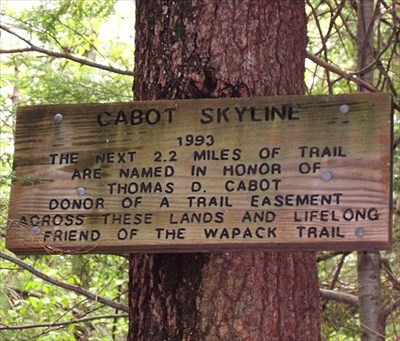 Wapack Cabot Skyline - Trailhead dedication sign