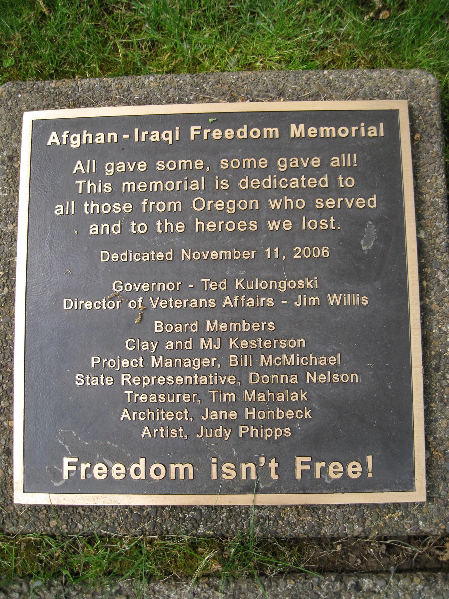 Afghanistan-Iraq War Memorial - Capitol Mall - Salem ...