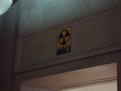 This is the first sign you see upon entering the building from the Woodward-side of the building.