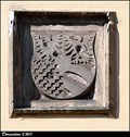 Image for Erb Markéty Minsterberské na veži kostela / CoA of Margaret von Münsterberg-Öls on church' tower - Budyne nad Ohrí (North Bohemia)