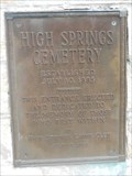 Image for Lions Club Plaque - High Springs Cemetery - High Springs, FL