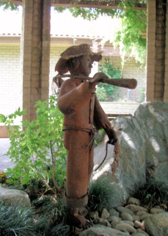 Boy With Fishing Pole Sierra Madre Ca Figurative Public Sculpture On