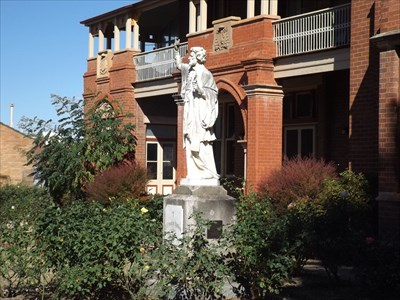 The statue of St Xavier in front of the Bishops Residence, Goulburn.