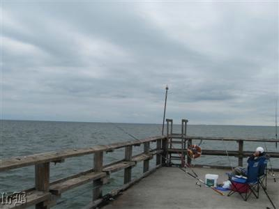 An angler patiently watches his rod on a chilly, cloudy day.
