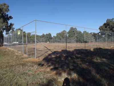 The run-down Tennis Courts, beside the Rural Fire Brigade of Brucedale.