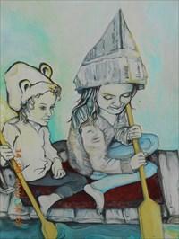 Photo gros plan des deux enfants sur le radeau.  Closeup picture of two children on the raft.