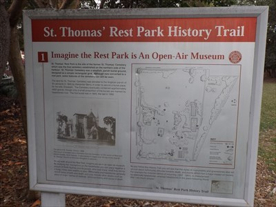 The full sign, with photo of the St Thomas Church, and a map of the Rest Park.0850, Saturday, 2 December, 2017
