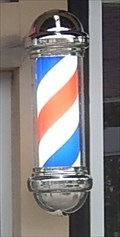 Image for Twin lighted barber poles - Legendz BarberShop, Grand Prairie, Texas USA