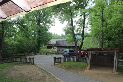 Picture was made from the front porch of the cabin and the bar is the farther-ist away.