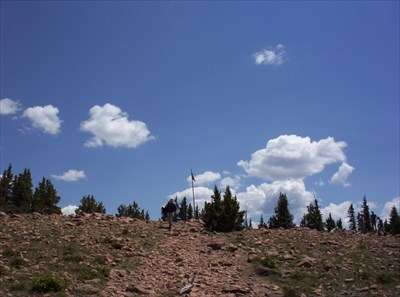 Almost to the flagpole on the summit
