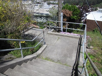 Aerial Way Stairs (East), Jog in the Stairway at Midway, San Francisco, CA