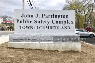 Carved granite sign for the John J. Partington Public Safety Complex - Town of Cumberland, Rhode Island at 1379 Diamond Hill Road