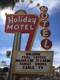 Holiday Motel Sign, Shaded Side, Las Vegas, Nevada