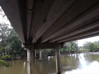 Another view of under the bridge, showing the concrete