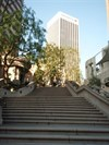 Just West of the US Bank Tower, in between the Citigroup tower is a public space.  These are the Bunker Hill steps with the Bank of America at the top.