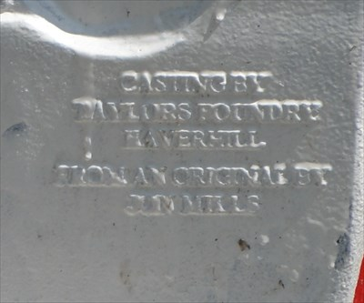 <center>CASTING BY<br> TAYLORS FOUNDRY<br> HAVERHILL<br><br> FROM AN ORIGINAL BY<br> JOHN MILLS</center>