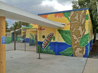 Handpainted mural at entrance to waterpark