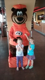 The girls had fun meeting the Great Root Bear, even though he was hibernating.