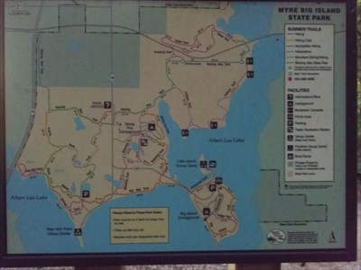 Full map board with You Are Here at the Big Island Trail - Myre Big Island State Park, by MountainWoods