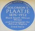 Image for Solomon Plaatje - Carnarvon Road, London, UK