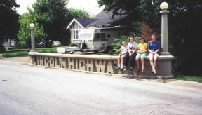 Here are our 4 children on the cool Lincoln Highway bridge in Tama, IA, by MountainWoods