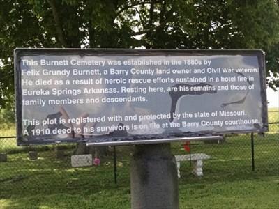 Burnett Cemetery new sign, by MountainWoods