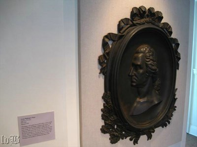 The sculpture hangs on a wall in a room that traces George Washington`s life through displays.