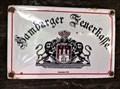Image for Emaille-Schild mit Hamburg Wappen der Hamburger Feuerkasse an der alten Schmiede im Museumsdorf-Volksdorf - Hamburg, Germany