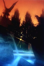 This reversed-color image was done in the camera, using several filters plus the mercury vapor lights in the fountain itself.