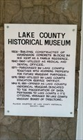 Image for Lake County Historical Museum Historical Marker - Lakeview, OR
