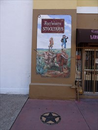 Note the Texas Trail of Fame star for Butch Cassidy and the Sundance Kid, in front of the mural.