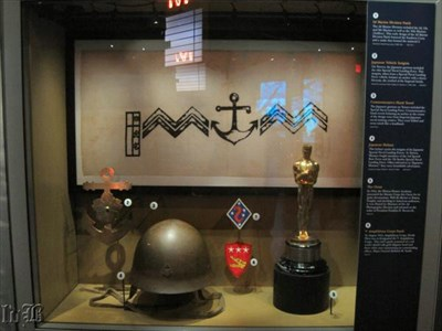 The Oscar is in a case with other Tarawa-related artifacts.