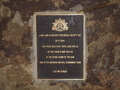 The plaque from the Historical Society, for WW1 1835, Sunday, 22 May, 2016