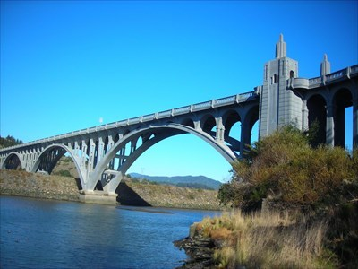 Spanning the Rogue River near its mouth at Gold Beach, Oregon, the Isaac Lee Patterson bridge is the southernmost of the US Highway 101 bridges designed by Conde McCullough.