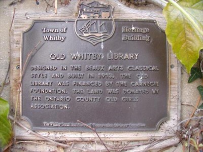 Town of 'Whitby' dedication plaque.