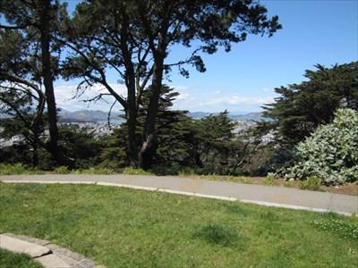 View from the Grassy Plaza at the Top, Buena Vista Park, San Francisco, CA