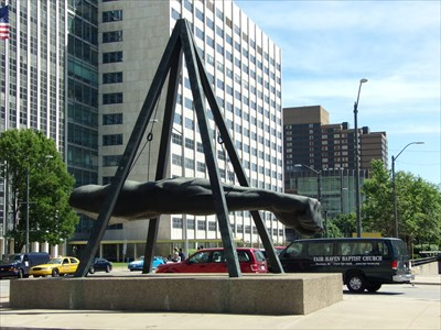 Woodward Avenue - Joe Lewis Monument - Detroit, Michigan.
