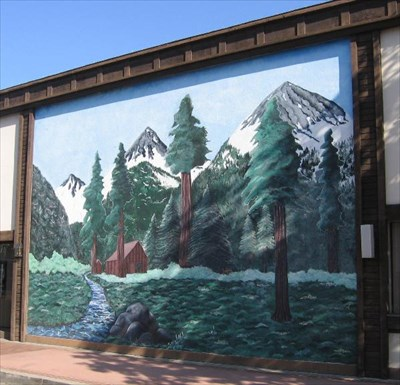 Fremont bank building mural hermit cabin visalia ca for Mural on building
