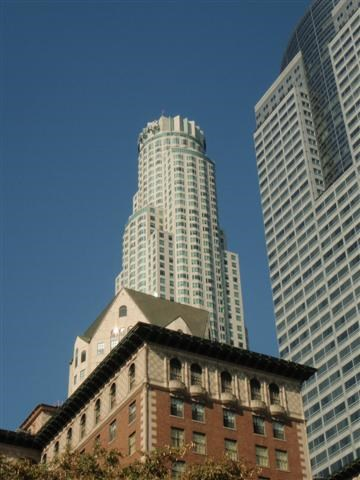 US Bank Tower with Gas Company Tower on right, BIltmore Hotel (front, center)-View from Pershing Square, Downtown Los Angeles, CA