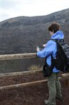 Taking photos of the crater