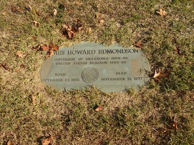 Here is the actual individual grave of James Howard Edmondson himself.
