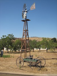 Windmill and Old Carriage, at McKean Road in San Jose, CA