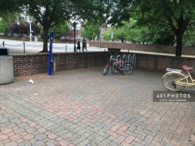 RepairSTAN at Kirkbride Hall bicycle parking rack area
