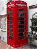 Image for La Arcada Red Telephone Box - Santa Barbara, California