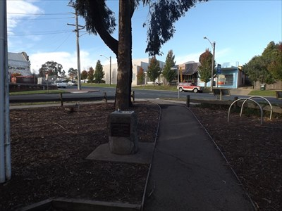 Looking up to Nicholson, and Clarke Streets intersection, from near the Information Centre.
