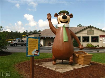 Yogi Bear waves at travelers on the road from Jellystone Park in Luray, VA.
