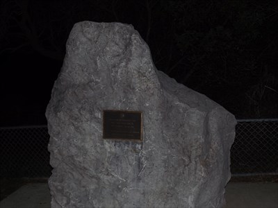 The large boulder at the Lookout, with the Memorial Plaque. 2100, 10/5/2016