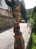 Image for Eule und Bär auf einem Baumstamm, Tirol, Austria