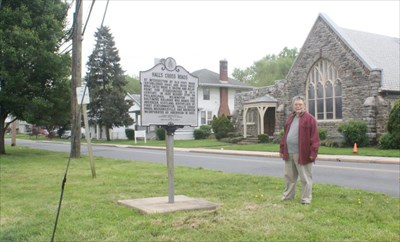 geotrooperz-pp at the Halls Cross Roads historical marker in Aberdeen, Harford County, Maryland