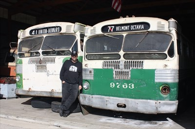 """Here I am with the only two surviving Fageol-Twin trolley buses - the 614 from San Francisco on the left and the 9763 """"Queen Mary"""" articulated from Chicago."""